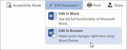"Select ""Edit in Browser"" in Word Online"