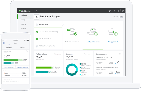 Quickbooks online screenshot on a mockup laptop and smartphone