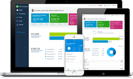 Quickbooks Self-Employed dashboard on a laptop, tablet, and smartphone